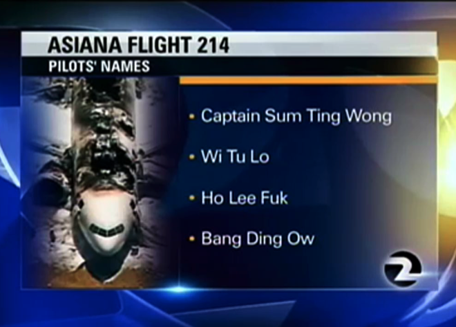 Report: Fake Asiana names sent to KTVU weren't meant for air