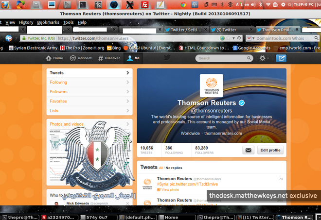 Syrian Electronic Army targets Reuters corporate account