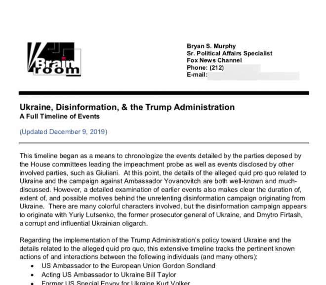 """Here's the full Fox News """"Brain Room"""" book on Trump-connected """"disinformation campaign"""""""