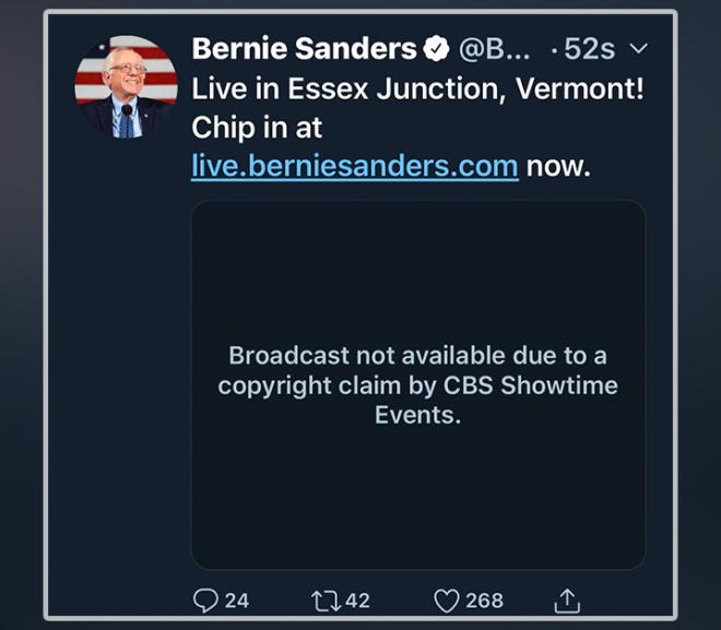 CBS News prevents Bernie Sanders from streaming own speech