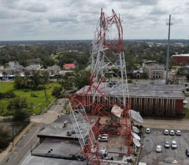 Hurricane topples TV transmission tower, knocks station off air