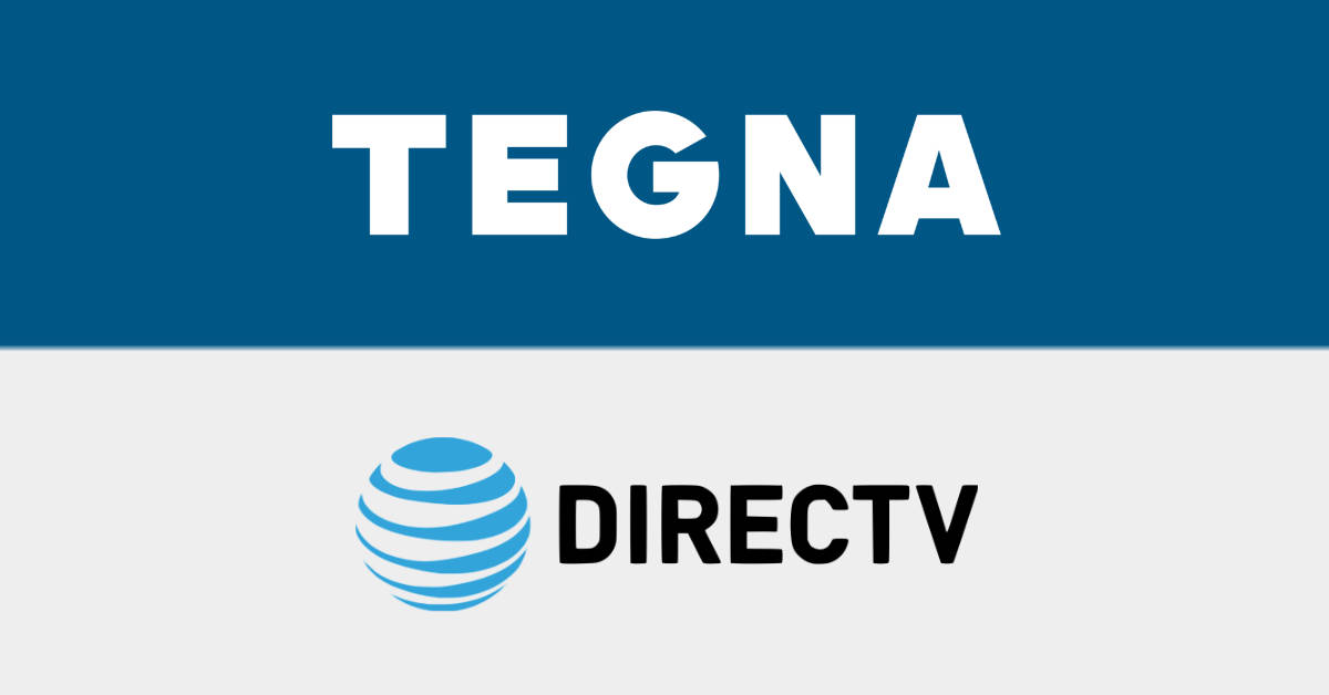 The logos of TEGNA and AT&T's DirecTV.
