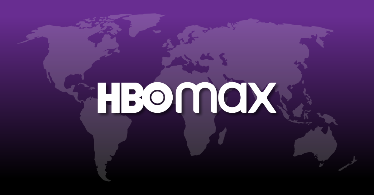 The logo of HBO Max superimposed over a map of the world, both appearing on a purple-black gradient background.