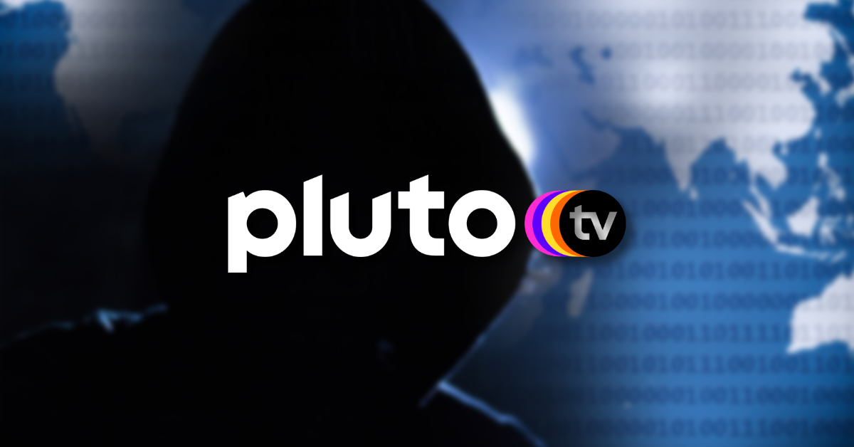The logo of Pluto TV appears superimposed over a generic cybersecurity background.